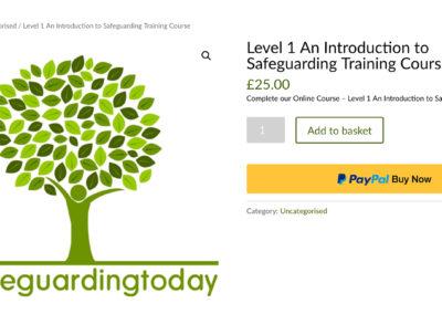 screenshot of buying online safeguarding training course