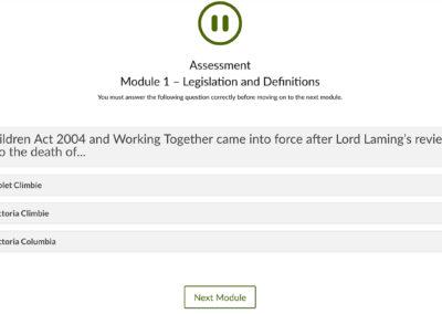 screenshot of module 1 of online safeguarding training course