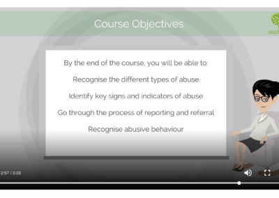 screenshot of course objectives of online safeguarding training course